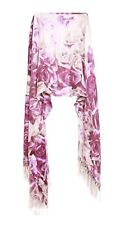 Flint Grey/white Statement Floral Violet Shade Rose Print Winter Scarf(S11)