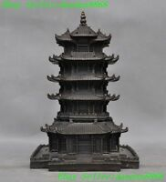 """9""""  Old Chinese Temple Buddhism pure bronze 5 floors Tower stupa pagoda statue"""