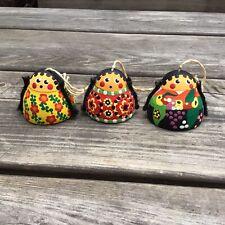 More details for vintage columbian hand painted female design folk art pottery hanging bells