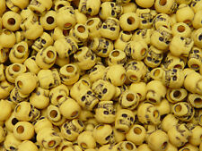 Antique Yellow Skulls Pony Beads made USA Halloween crafts paracord goth jewelry