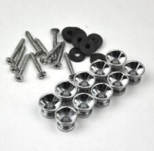10 Sets Sliver Guitar Strap Nail Pins Lock Button + Screw + Rubber Washer