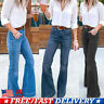 Women's Ladies Flare Denim Jeans High Waist Wide Leg Trousers Bell Bottom Pants