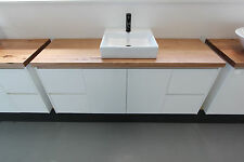 Nava 1500 Wall Hung Vanity featuring 40mm Wormy Chestnut Timber Bench Top