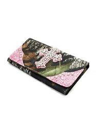 MOSSY OAK CAMO & PINK CLUTCH WALLET - CAMOUFLAGE - WESTERN SNAP WALLET