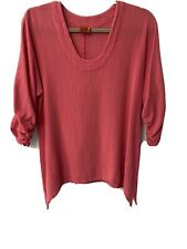 Oh My Gauze Arty Cotton Top In Coral Size 1