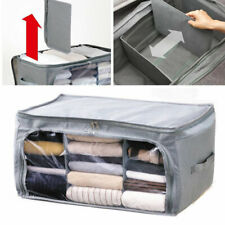 Bamboo Charcoal Foldable Underbed Large Storage Bag Box Zip Clothes Organizer