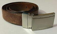 Robert Graham Belt Men's 36 Inch Waist Leather Metal Buckle Embossed Brown