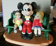Walt Disney Mickey Mouse Figurine Porcelain/Bisque Sitting On Bench with Kids