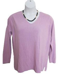 Lilac V-Neck Sweater Plus Size 1X 18W 20W Avenue Acrylic Soft VNECK Casual Knit