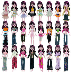 Random 3 Sets Dress Outfit Blouses Trousers Casual Clothes For Monster High Doll