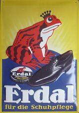 Erdal Froschkönig Blechschild 35x50cm Schuhpflege Reklame Werbung Frosch Schuhe