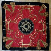 """Vintage BASLER 100% Silk Twill Scarf - Red Black w/Horse Bit Chain Motif  20.5"""""""