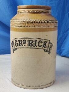 "RARE Antique Buchan Scottish Pottery "" Grd Rice "" Stoneware Storage Jar & Lid"