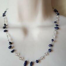 Lapis Lazuli Sterling Silver Beaded Necklace Natural Gemstones Quartz Crystal