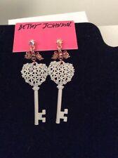 Betsey Johnson White Heart Key Drop Earrings White Gold Drop Earring  $40