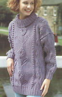 """Ladies Sweater Knitting Pattern Flowers leaves and Bobbles Aran 30-40"""" 533"""