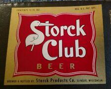 STORCK Beer Bottle Label 1950-1955 Storck Products, Slinger, Wisconsin 12oz.