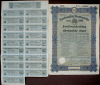 4 1/2%ige Hamburgische Staatsanleihe 5000 Mark 1919 unentwertet + Kuponbogen