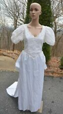 Vtg! Dessy Creations New York White Satin Fitted Wedding Dress Sz: 12 w/ Train