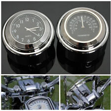 7/8 1'' Motorcycle Handlebar Mount Dial Clock Watch Thermometer Temp For Harley