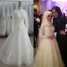 Muslim Organza Appliques Wedding Dresses White A-Line Long Sleeve Bridal Gowns