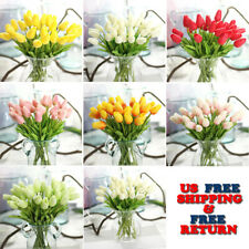 10 Artificial Tulips Flower Latex Real Touch Bridal Wedding Bouquet Home Decor