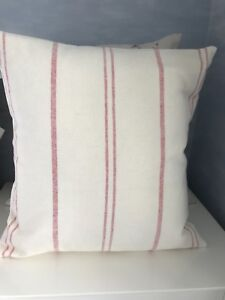 Susie Watson  Ivory  Red Vintage Stripe Fabric Cushion Cover