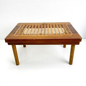 Estate Find Antique Vintage Wood Foot Step Stool Chair Caning