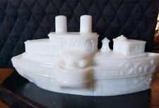 "Antique EAPG Milk Glass Battleship Steam Boat ""Maine"" Covered Mustard Dish"