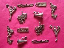 Tibetan Silver Mixed Cheerleader/Cheerleading/Cheer Themed Charms - 12 per pack