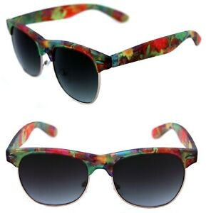 Women's Half Shell Sunglasses Soho Horn Rimmed Matte Flower Green Print retro