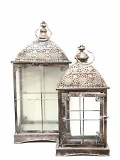 Metal Lantern Vintage Candle Holder Victorian Set Of 2 Oxidized Bronze Color