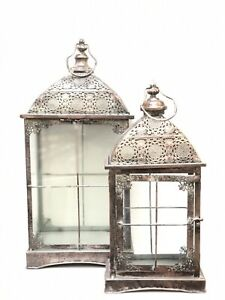 Metal Cage Lantern Vintage Candle Holder Victorian Set Of 2 Oxidized Bronze