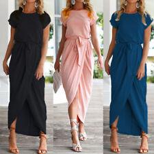 ZANZEA AU8-24 Women Summer Short Sleeve Belt Bow Casual Party Evening Maxi Dress