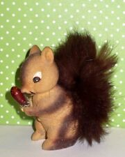 VINTAGE MINIATURE FLOCKED SQUIRREL WITH REAL FUR TAIL FIGURINE JAPAN VGC