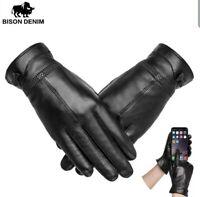 BISON DENIM Genuine Sheepskin Leather Women Warm Gloves Autumn  Winter...