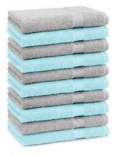 Betz lot de 10 serviettes débarbouillettes Premium: gris argenté & turquoise