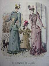 """65/ GRAVURE DE MODE """" Moniteur de la Mode Paris 1891 """".   Grand format 36x26"""