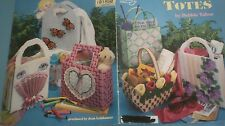 Plastic Canvas Tote Bags Basket Pansy Tulip Hearts Butterfly Fan & woven