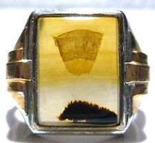 OLD CLARK COOMBS STERLING SILVER 1/20 10K GOLD FILLED GF MENS AGATE SHIELD RING