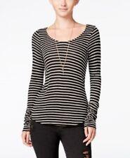 Chelsea Sky Montrose Striped Open Back Women Top Size L Color Black C11