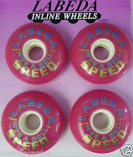 4 New LABEDA Inline Speed Skate Wheels, 70mm Pink Rose,78A Mega A Roll Racing