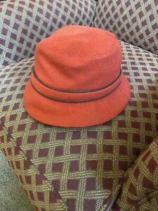 COACH Women's P/S Blood Orange Wool Bucket Hat w/Brown Coach Monogram Lining