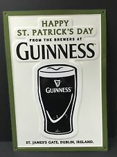 "Guinness Happy St. Patrick's Day Tin Metal Sign Embossed NEW & F/SH. 20"" x 14"""