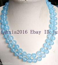 Natural 10mm Blue Aquamarin Gemstone Round Necklace Beads Loog 36''