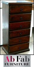 BANKSIA FULLY CONSTRUCTED TIMBER TALLBOY SLIM LINGERIE CHEST OF 6 DRAWERS WALNUT
