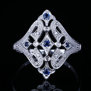 Remarkable! 14K White Gold Classic Real Diamonds&Sapphires Wedding Party Ring