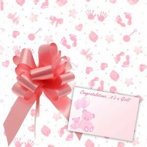 Baby Girl Cellophane Gift Wrap Baby Shower Hamper Basket Pull Bow Ribbon & Card