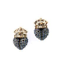 Boucles d`Oreilles Clips on Puces Doré Couronne Coeur Bleu Mariage Retro J6