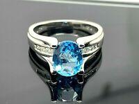 Blue Topaz & Diamonds Ring Oval 1.60ctw 14k White Gold Womens Estate Jewelry 7